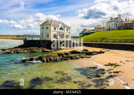 The Arcadia, a historic cafe and ballroom in the coast of Portrush, a small seaside resort town in County Antrim, - Stock Photo