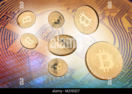 concept 3d illustration with many cryptocurrency golden coins with bitcoin logo in the background and fragments - Stock Photo
