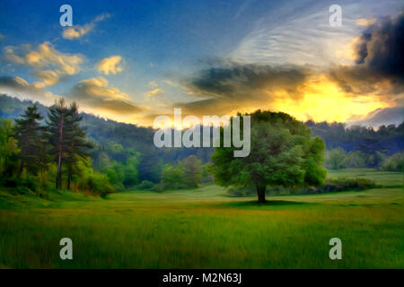 sunset over the fields and trees near forest, modern oil painting wallpaper - Stock Photo