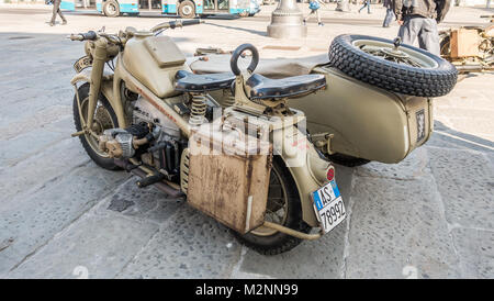 Trieste, Italy - March 31, 2017: The Zundapp KS 750 is a World War II-era motorcycle and sidecar combination developed - Stock Photo