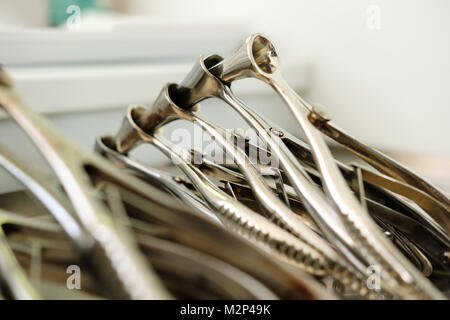 Medical instruments and tools equipment in the ENT doctor's office. otolaryngologist tool. Close up - Stock Photo