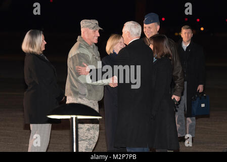 Col. Kenneth E. Moss, 374th Airlift Wing commander greets Vice President of the United States Michael R. Pence during - Stock Photo