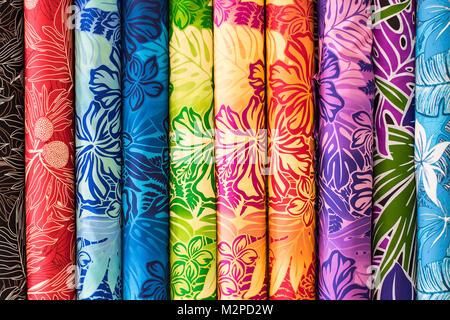 Rainbow Aloha Hawaiian Print Fabric on sale at the Swap Meet on Oahu, showing tropical hawaiian concept