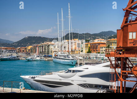 France, Alpes-Maritime department, Côte d'Azur, Nice, luxury yachts at Port Lympia - Stock Photo