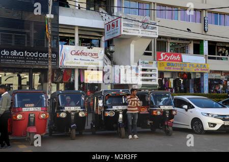 New Bazaar Street Nuwara Eliya Hill Country Central Province Sri Lanka Tuk Tuks Parked Outside Shops - Stock Photo