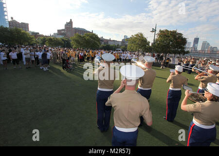 NEW YORK, NY - SEPTEMBER 10:  USO Honors the Memory of September 11th Heroes with 9/11 Remembrance Walk at Hudson - Stock Photo