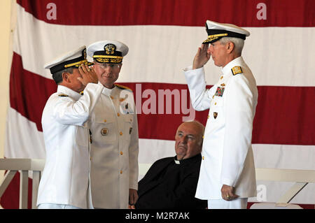 111003-N-LD296-095: NAPLES, Italy (October 3, 2011) – Vice Adm. Harry B. Harris Jr., commander, U.S. 6th Fleet, - Stock Photo
