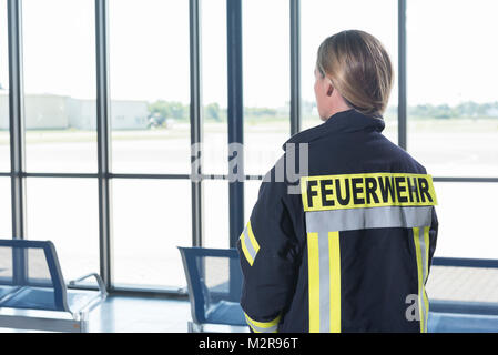Security staff at the airport, Mannheim, Baden-Wurttemberg, Germany - Stock Photo