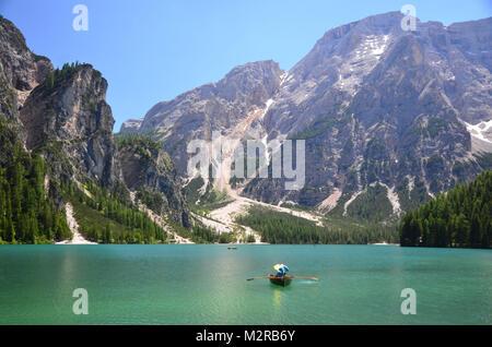 Pragser Wildsee / Lake Prags close Seekofel, Pustertal, Dolomites, South Tirol, Trentino, Italy - Stock Photo