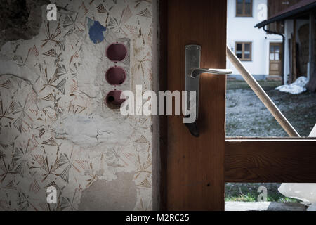 Old house, inside, front door, detail, - Stock Photo