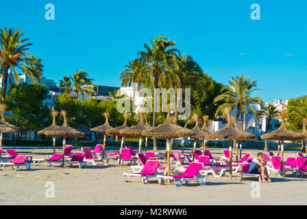 Platja d'Alcudia, Playa de Alcudia, Port d'Alcudia, Mallorca, Balearic islands, Spain - Stock Photo
