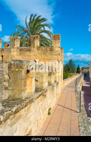 Walkway on top of medieval defensive walls, Alcudia, Mallorca, Balearic islands, Spain - Stock Photo