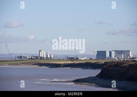 Landscape image of Hinkley C nuclear power station and construction site of new unit shot in 2018 - Stock Photo
