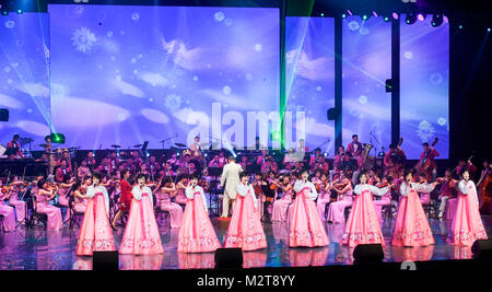 PyeongChang. 9th February, 2018. Samjiyon Art Troupe, Feb 8, 2018 : In this picture released by Ministry of Culture, - Stock Photo
