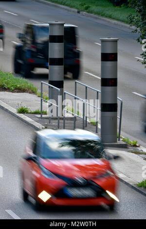 radar trap, speed camera for meassuring the speed, B14, Stuttgart, Baden-Wurttemberg, Germany - Stock Photo