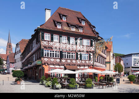 Historical half-timbered house Hotel Post, Nagold, Black Forest, Baden-Wurttemberg, Germany - Stock Photo