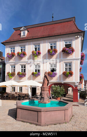 Marktplatz (square) with city hall, Nagold, Black Forest, Baden-Wurttemberg, Germany - Stock Photo
