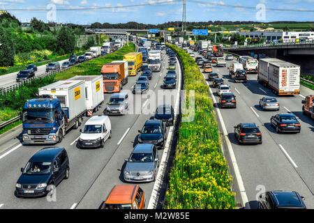 Germany, Hamburg, Moorfleet, German Motorway (Autobahn) A1, traffic jam - Stock Photo