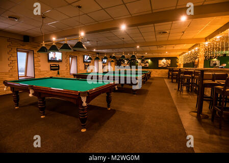 ROSTOV-ON-DON, RUSSIA - FEBRUARY 2, 2018: Billiard room interior with tables - Stock Photo