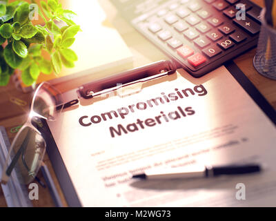 Compromising Materials - Text on Clipboard. 3D. - Stock Photo