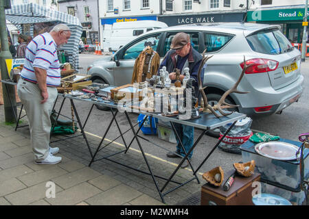 Market stall in Honiton High Street, Devon, England, UK. - Stock Photo