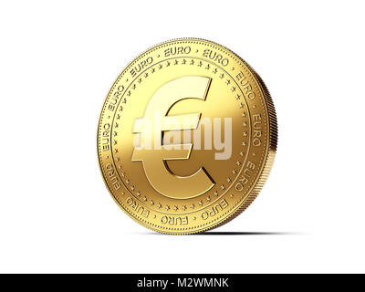 Euro sign on golden coin. Photo realistic 3D rendering isolated on white background - Stock Photo