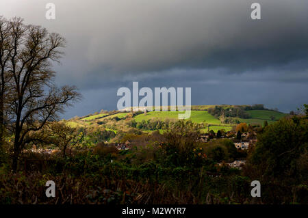 View of Iron Age fort on Little Solsbury Hill, Batheaston, Somerset, England, UK - Stock Photo
