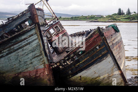 Ring net boats on the Isle of Mull, Scotland - Stock Photo