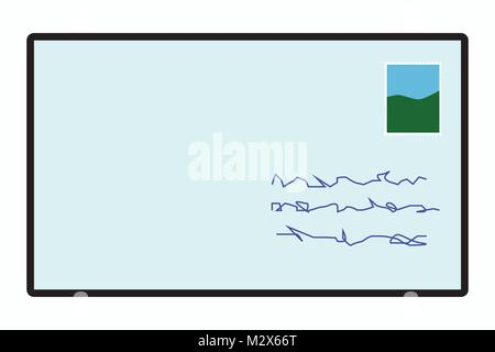 Mail icon, Post icon, letter symbol, illustration of envelope with stamp and handwritten address, vector of addressed - Stock Photo
