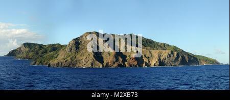 Pitcairn Island, the home of the HMS Bounty's mutineers. - Stock Photo