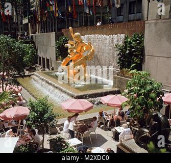 USA. New York. Manhattan. Rockefeller Plaza terrace with gilt bronze statue pf Prometheus. - Stock Photo
