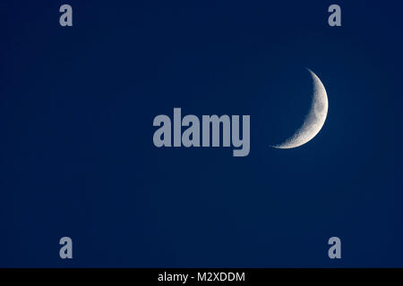 crescent moon in a dark blue night sky - Stock Photo