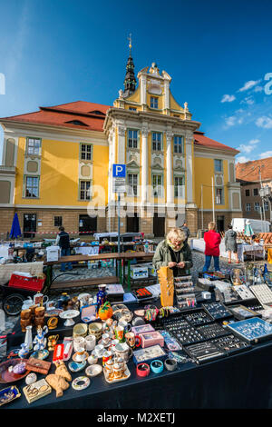 Street fair on Sunday, Rathaus (Town Hall) at Fleischmarkt (Meat Market Square) in Bautzen, Upper Lusatia region - Stock Photo
