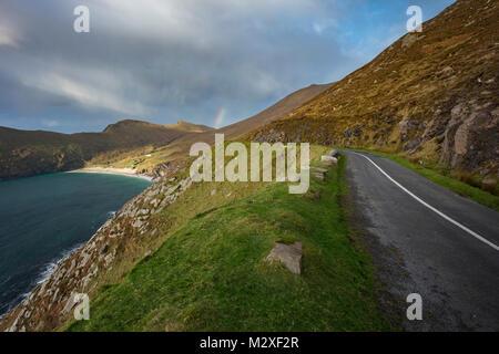 The road to Keem Bay on the Wild Atlantic Way, Achill Island, County Mayo, Ireland. - Stock Photo