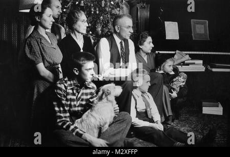 1930s 1940s Family In Living Room Listening To Radio While