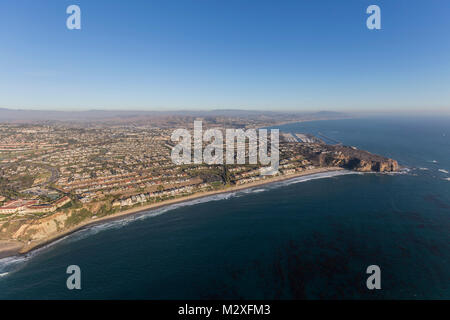 Aerial view of Dana Point in Orange County on the California coast. - Stock Photo