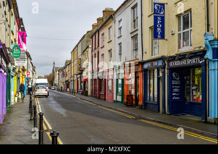 North Street, Skibbereen, County Cork, Ireland, a colourful street full of shops, cafés, restaurants and bars with - Stock Photo
