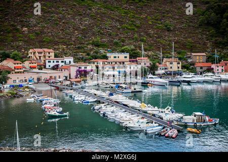 Capraia Island, Arcipelago Toscano National Park, Tuscany, Italy - marina boats - Stock Photo