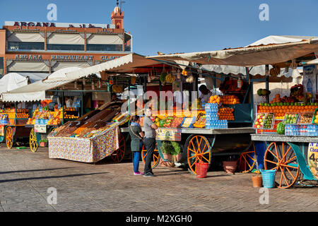 juice stalls on Jemaa el-Fnaa in Marrakesh, Morocco, Africa - Stock Photo