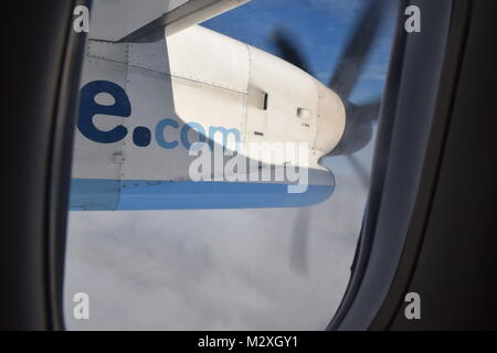 VIEW FROM THE AIRCRAFT WINDOW ON A FLYBE FLIGHT - Stock Photo