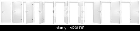 set collection of white open and closed doors with doorframe isolated on white background - Stock Photo