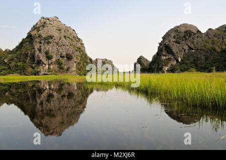 Reeds and karstic mountains in the Van Long Nature Reserve, Ninh Binh Province, north Vietnam - Stock Photo