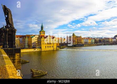 Vltava river embankment, view from the Charles Bridge - Stock Photo