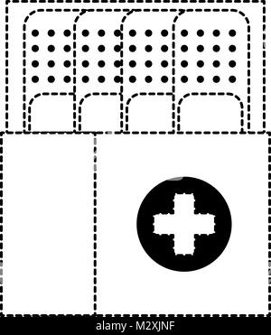 box packing with medicinal bandages isolated icon - Stock Photo