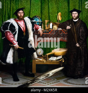 Holbein Ambassadors. Jean de Dinteville and Georges de Selve (The Ambassadors) by Hans Holbein the Younger (1497/8 - Stock Photo