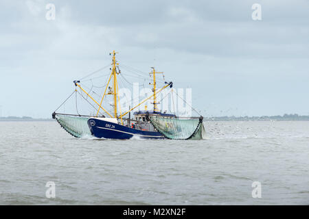 Germany, Lower Saxony, East Friesland, crab fisherman in the North Sea close the Island of Langeoog. - Stock Photo