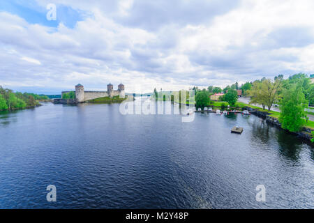 View of the Olavinlinna castle, in Savonlinna, Finland. It is a 15th-century three-tower castle - Stock Photo