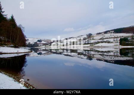 Mirror lake in the mid winter - Stock Photo