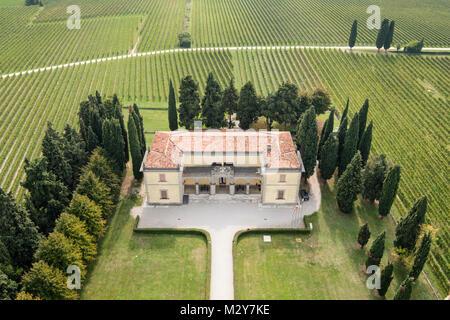 Aerial view of the museum of the battle of Solferino (Museo di Solferino) San Martino della Battaglia, Brescia Province, - Stock Photo