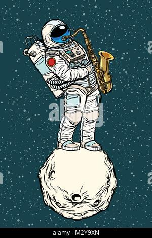 astronaut saxophonist plays jazz in space, saxophone musical ins - Stock Photo